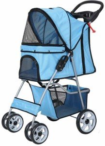 confidence deluxe folding four wheel pet-stroller for cats and dogs