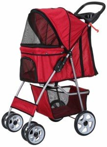 confidence deluxe folding four wheel pet-stroller for cats and dogs - red